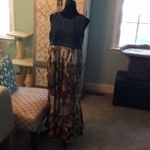 Dresses & Skirts - Unique Boho patchwork dress with denim top